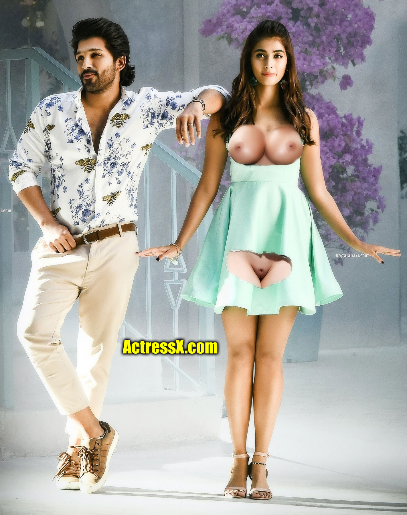 Allu Arjun with sexy Pooja Hegde open blouse nude boobs nipple image
