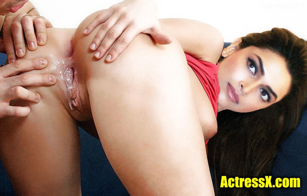 Cum on Deepika Padukone clean shaved pussy hole asshole closeup