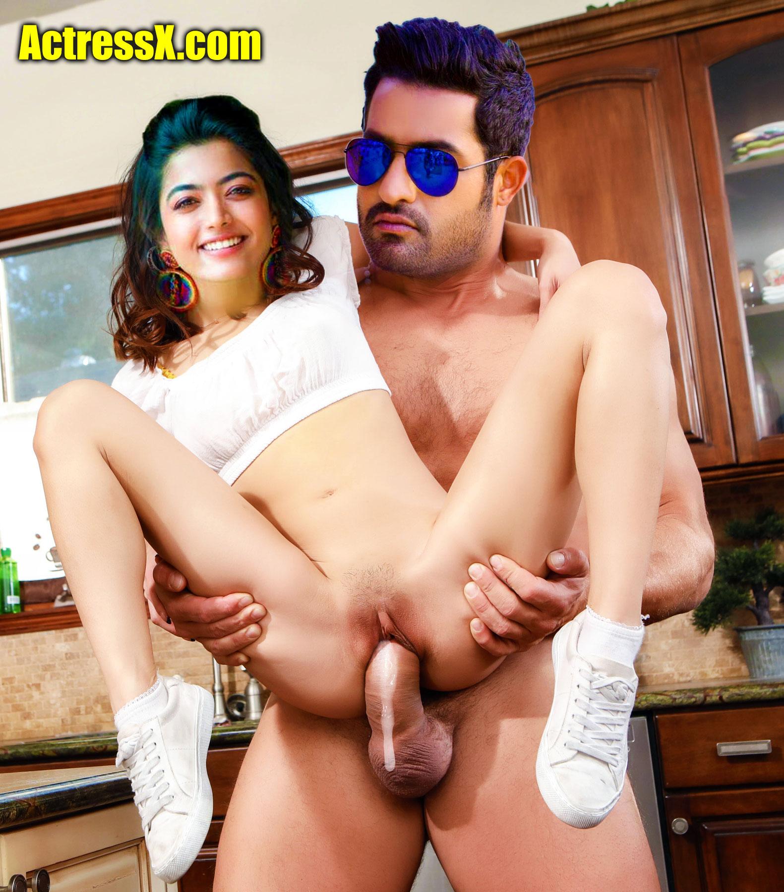 Jr NTR fucking Rashmika Mandanna pussy cum leaking out xxx sex