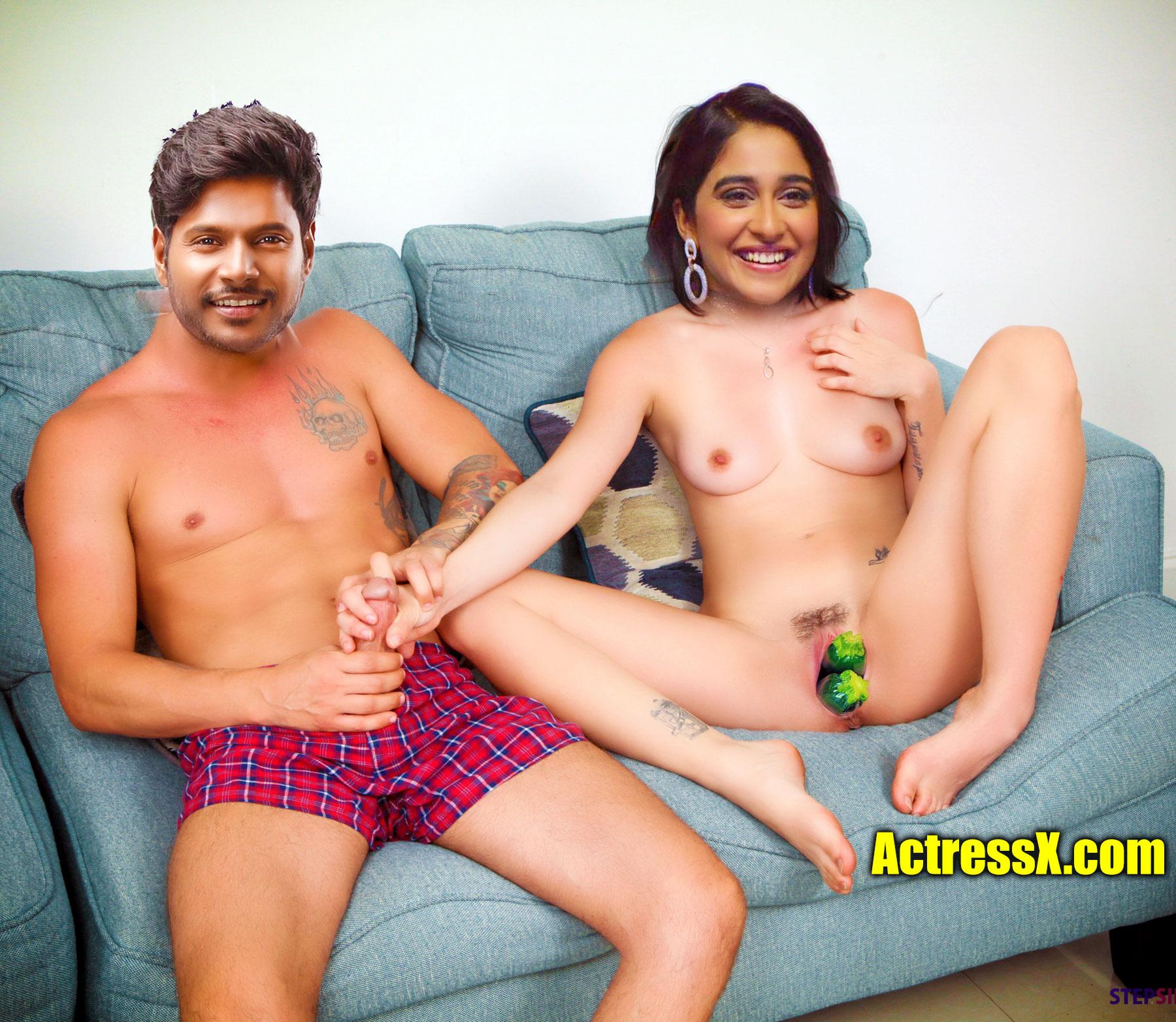 Naked Regina Cassandra handjob Sundeep cock cucumber inside nude pussy
