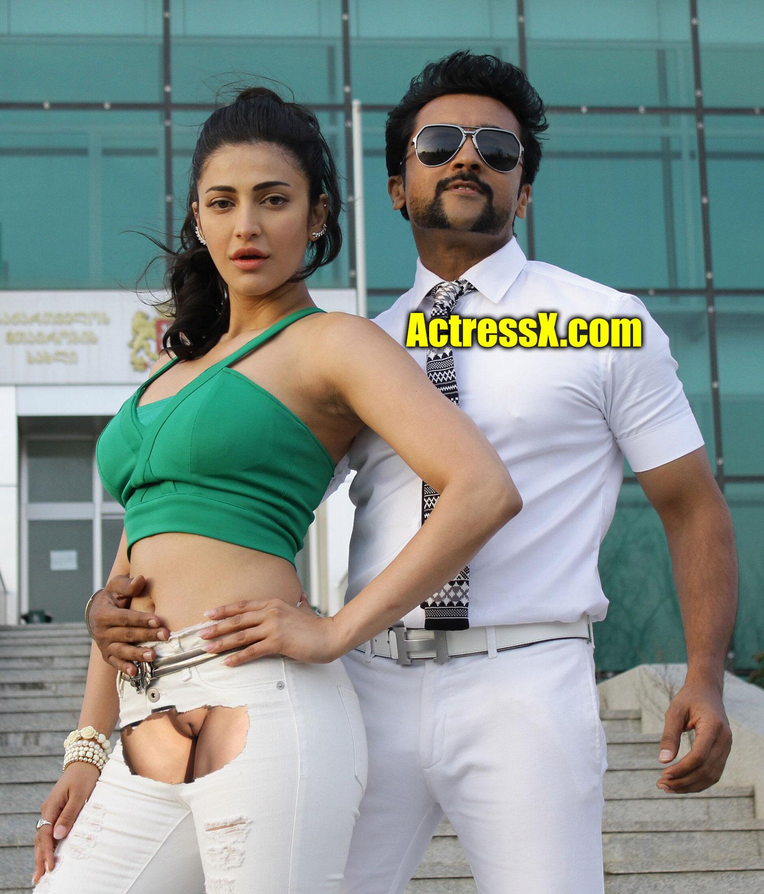 Sexy Actress Shruti Haasan nude pussy exposed Suriya song shooting stills