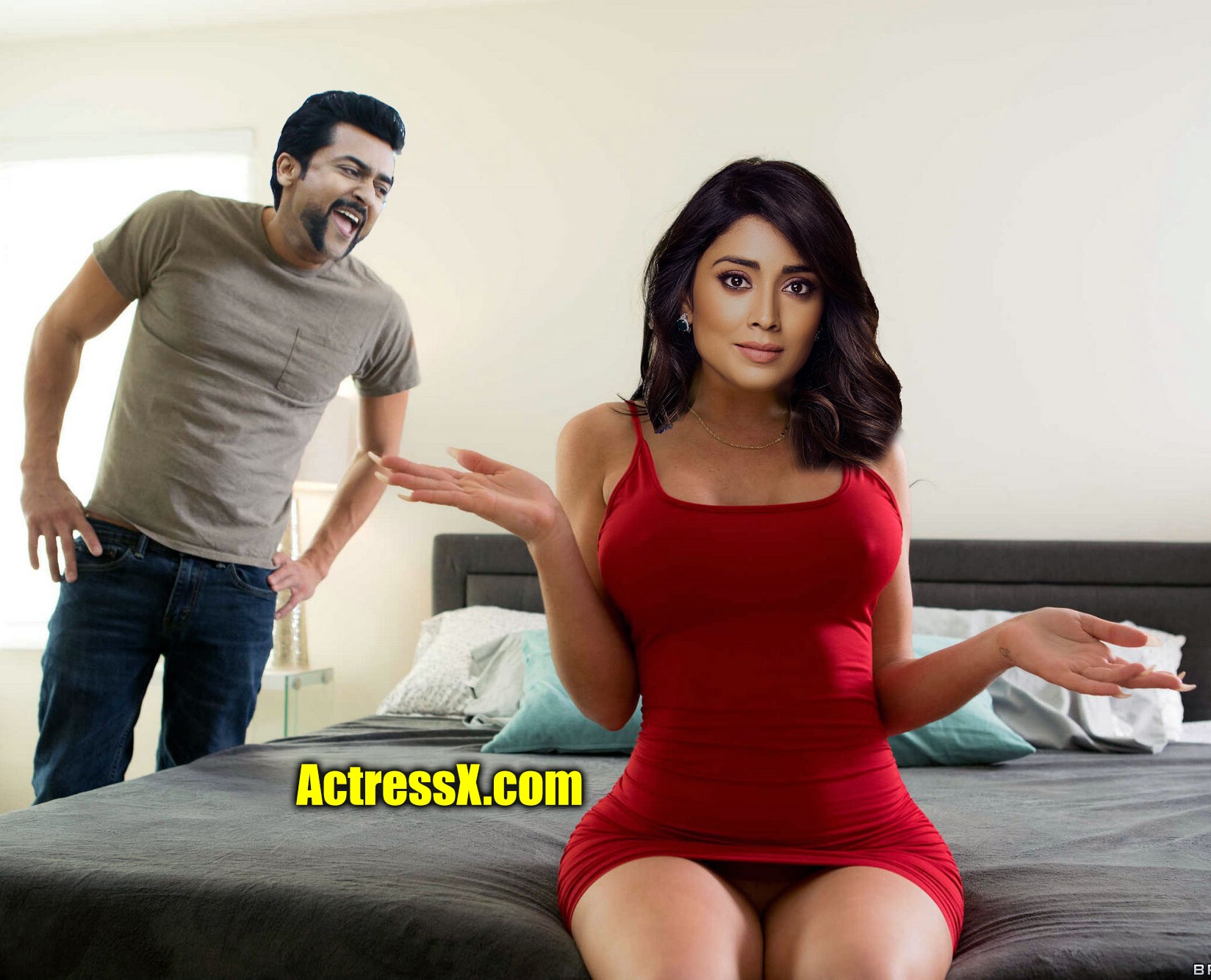 Shriya Saran private hotel room with hero Surya nipple pointing image