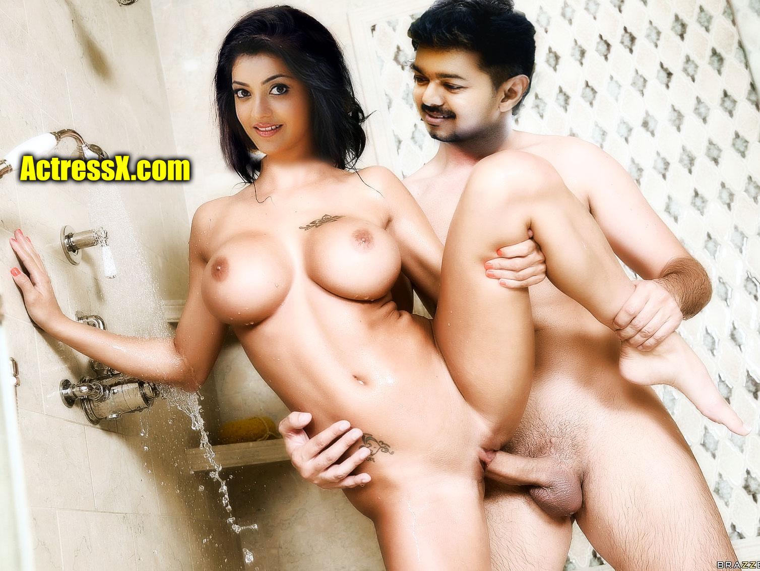 Vijay fucking full nude Kajal Aggarwal pussy bathroom sex photo