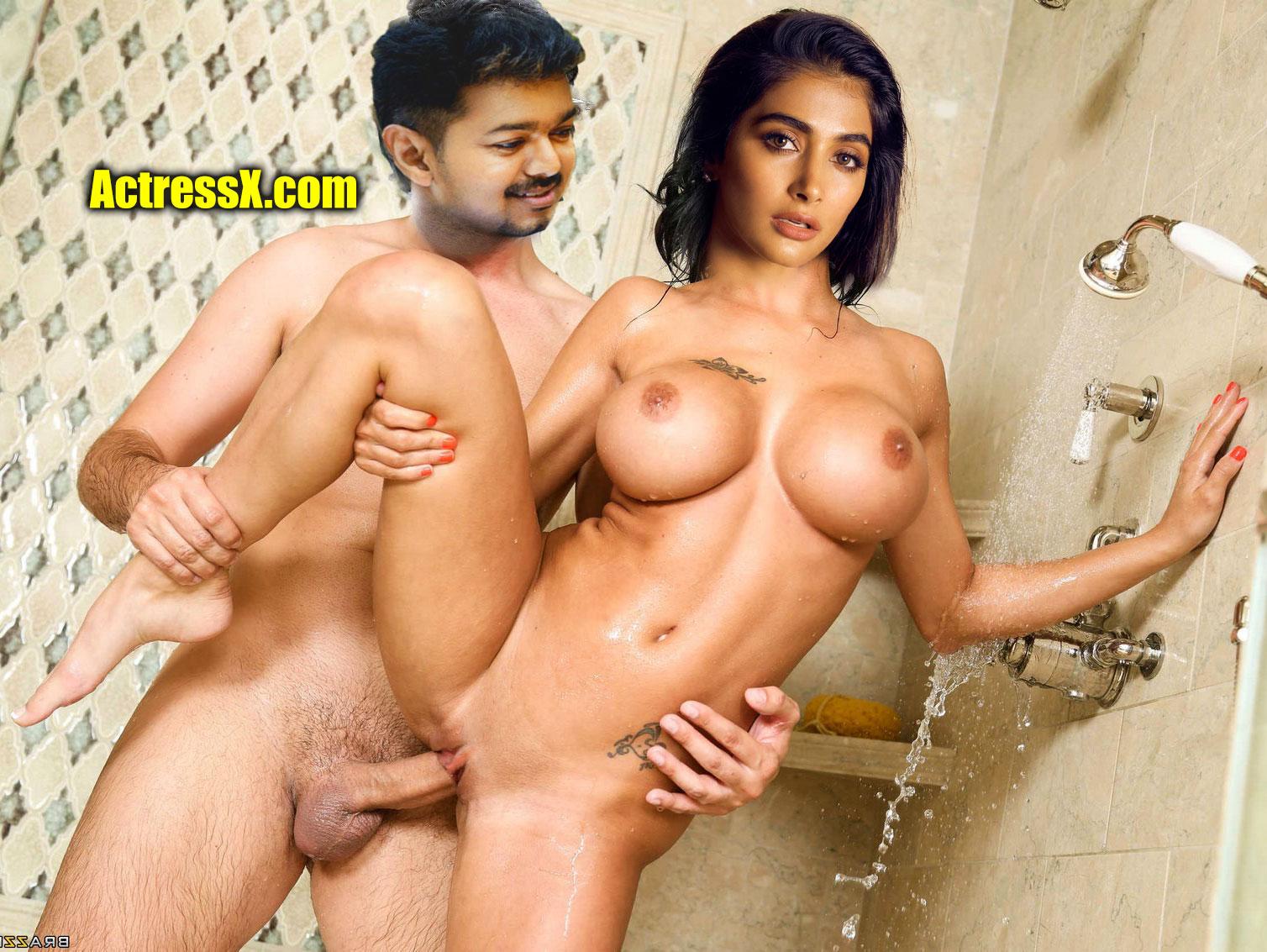 Vijay fucking nude sexy Pooja Hegde pussy bathroom fucking pic