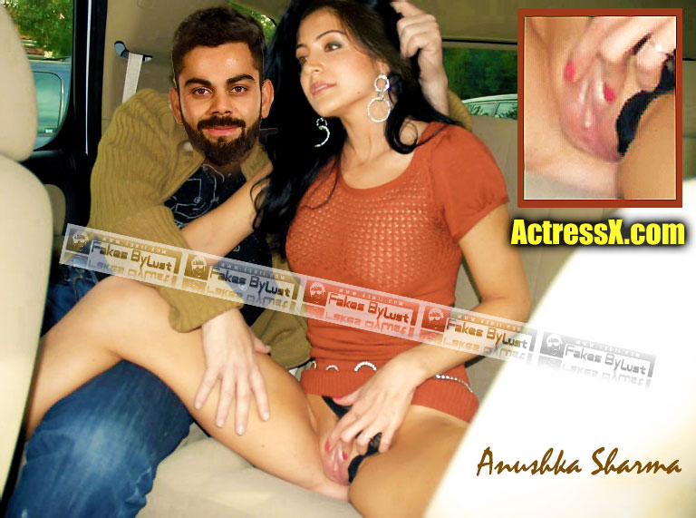 Virat Kohli spreading her wife leg Anushka Sharma nude shaved pussy car sex