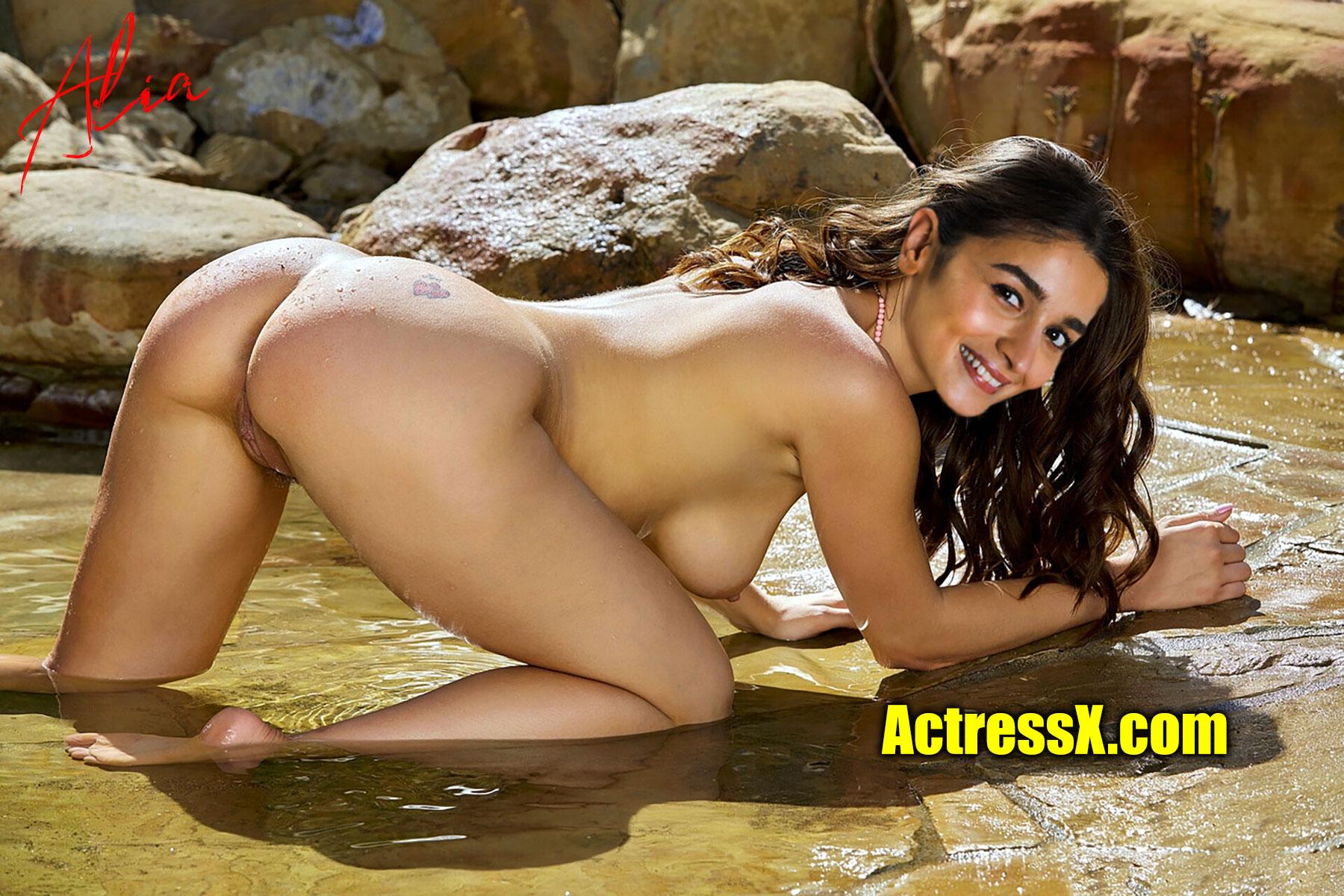 Alia Bhatt nude doggy style pose outdoor song shooting stills HD